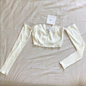 Woman's Cream Ruffled Crop Top w/ Sleeves (S)